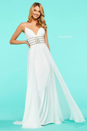 Sherri Hill 53386 prom dress images.  Sherri Hill 53386 is available in these colors: Red, Black, Ivory, Turquoise, Royal, Yellow, Coral, Aqua, Light Blue, Emerald, Blush.