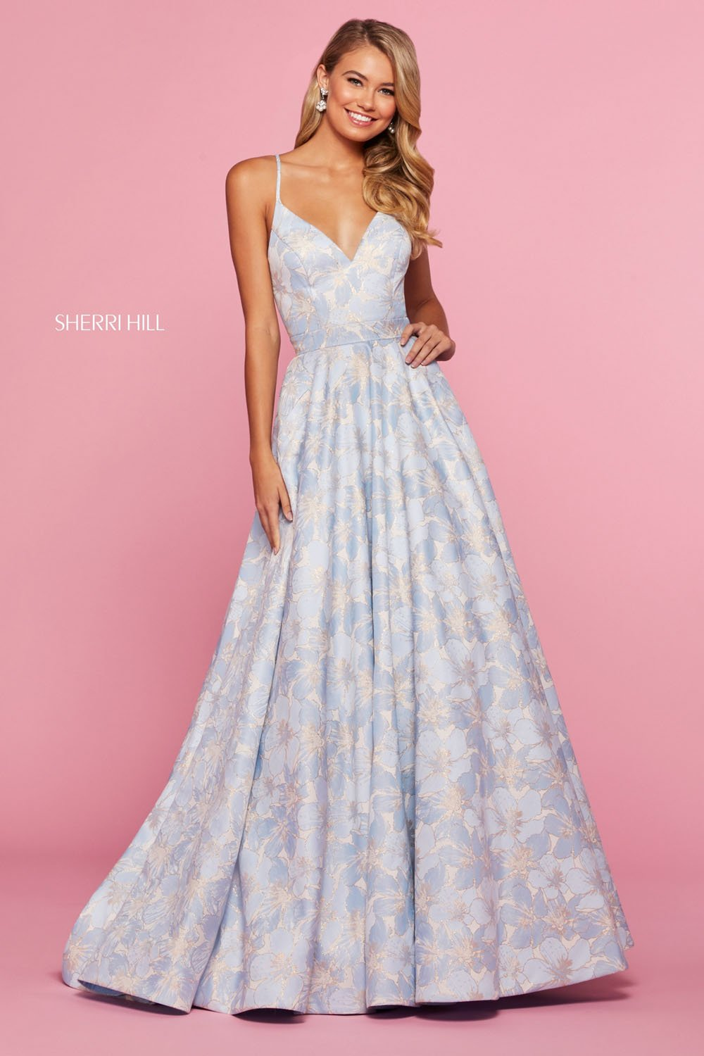 Sherri Hill 53397 prom dress images.  Sherri Hill 53397 is available in these colors: Yellow, Pink, Light Blue.