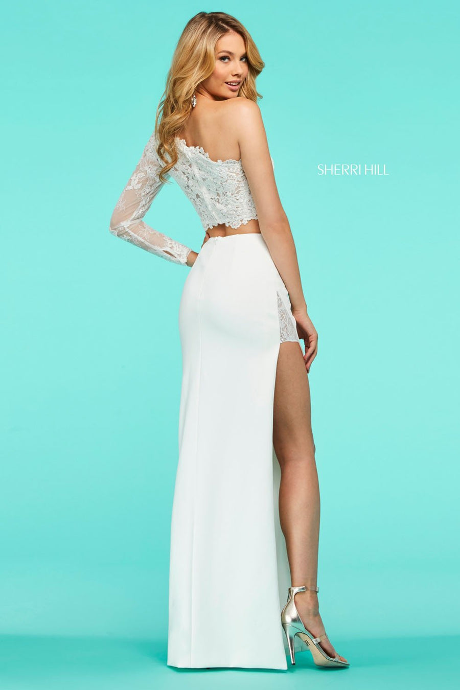 Sherri Hill 53404 prom dress images.  Sherri Hill 53404 is available in these colors: Ivory, Black, Light Blue, Candy Pink, Red, Yellow.