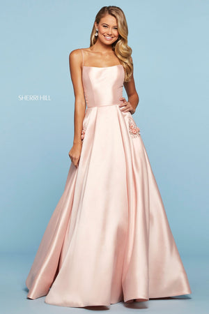 Sherri Hill 53407 prom dress images.  Sherri Hill 53407 is available in these colors: Light Blue, Blush, Light Pink, Yellow, Ivory, Bright Pink, Lilac, Red, Black, Navy.
