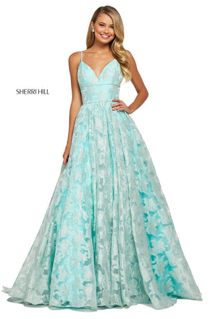 Sherri Hill 53410 prom dress images.  Sherri Hill 53410 is available in these colors: Aqua, Ivory, Blush.