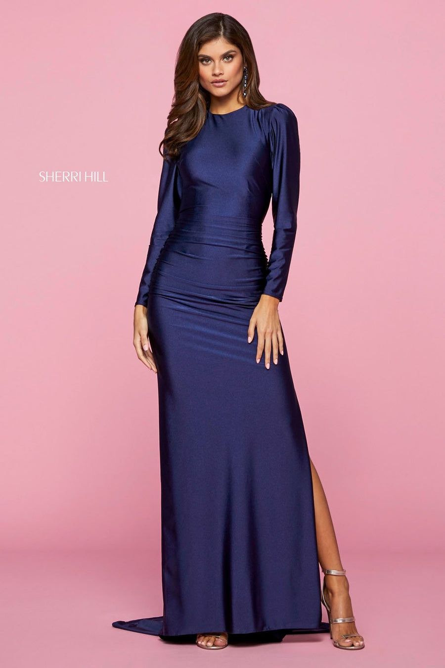 Sherri Hill 53433 prom dress images.  Sherri Hill 53433 is available in these colors: Bright Fuchsia, Blush, Navy.
