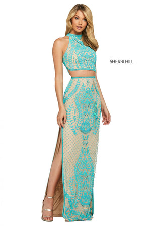 Sherri Hill 53436 prom dress images.  Sherri Hill 53436 is available in these colors: Nude Ivory, Nude Turquoise, Pink, Coral, Yellow, Aqua.