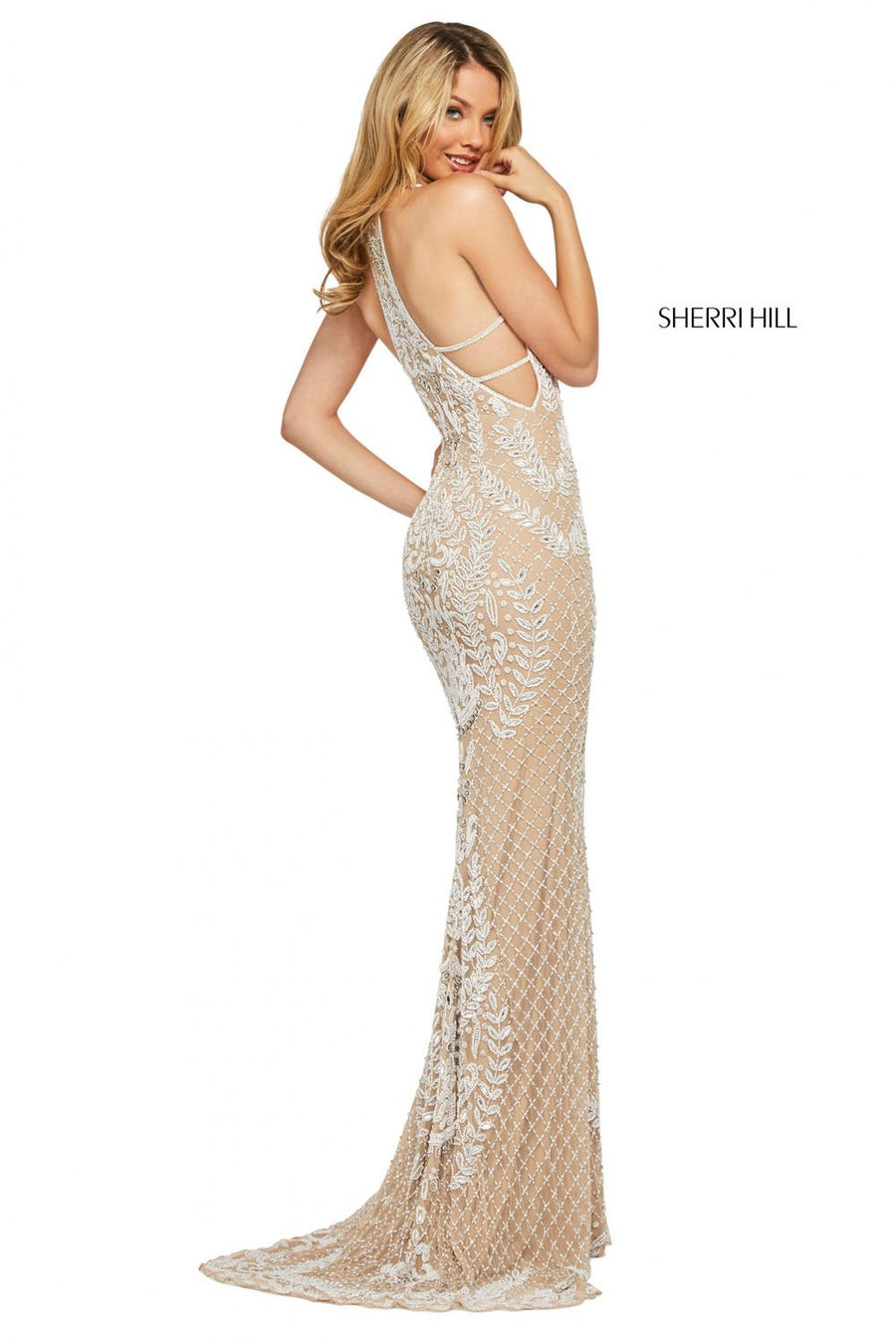 Sherri Hill 53439 prom dress images.  Sherri Hill 53439 is available in these colors: Nude Ivory, Teal, Periwinkle Pink, Aqua Pink, Periwinkle, Yellow, Nude Aqua, Ivory.