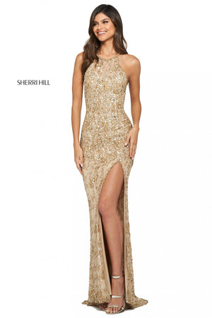 Sherri Hill 53441 prom dress images.  Sherri Hill 53441 is available in these colors: Ivory, Black Nude, Periwinkle, Pink Nude, Gold.