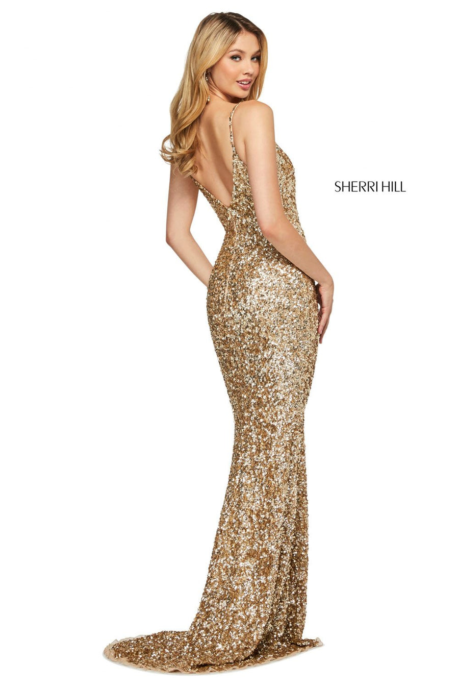 Sherri Hill 53449 prom dress images.  Sherri Hill 53449 is available in these colors: Rose Gold, Gold, Emerald, Navy, Burgundy, Ivory, Periwinkle, Coral.
