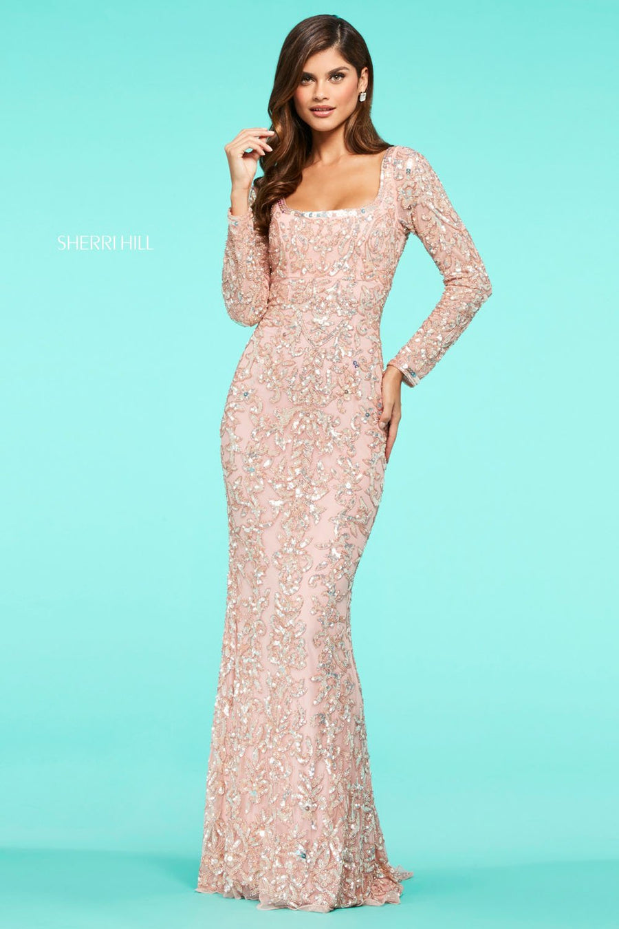 Sherri Hill 53451 prom dress images.  Sherri Hill 53451 is available in these colors: Nude Multi Ombre, Coral, Ivory, Gold, Light Blue, Blush, Navy, Black, Nude Ivory, Nude Yellow, Burgundy Blush, Yellow, Nude Aqua.