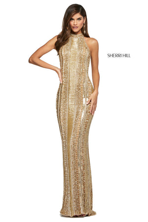 Sherri Hill 53457 prom dress images.  Sherri Hill 53457 is available in these colors: Light Blue, Gold, Silver, Burgundy, Periwinkle.