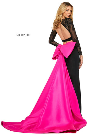 Sherri Hill 53463 prom dress images.  Sherri Hill 53463 is available in these colors: Black Red, Black Fuchsia.