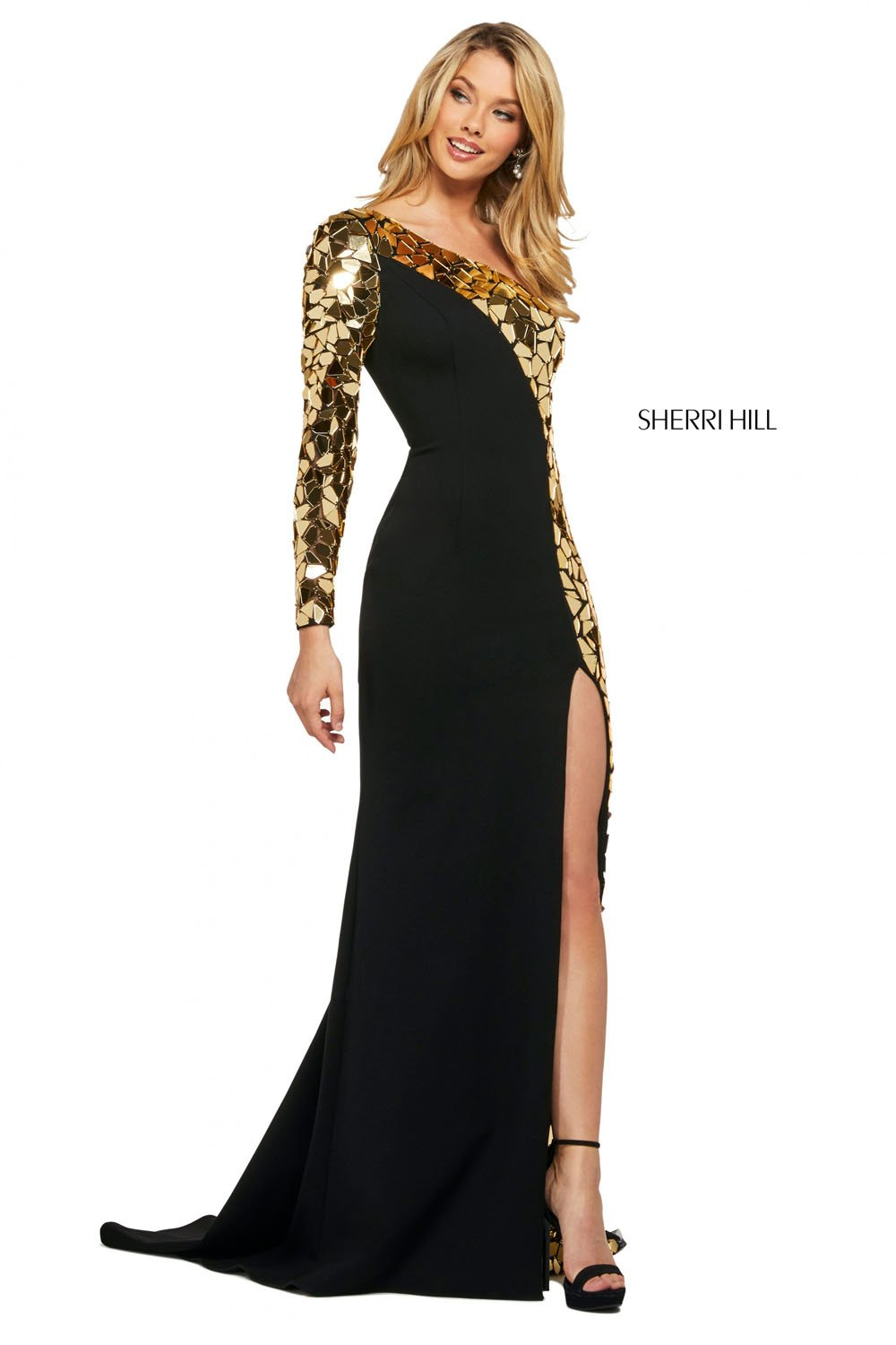 Sherri Hill 53467 prom dress images.  Sherri Hill 53467 is available in these colors: Ivory Silver, Black Multi, Black Gold, Black Silver.