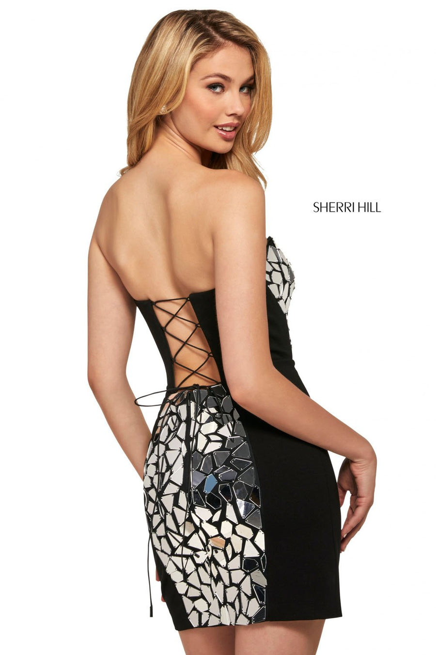 Sherri Hill 53469 prom dress images.  Sherri Hill 53469 is available in these colors: Ivory Silver, Black Silver, Black Multi, Black Gold.