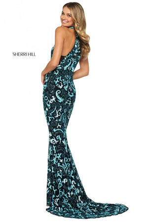 Sherri Hill 53484 prom dress images.  Sherri Hill 53484 is available in these colors: Navy, Peacock, Rose Gold, Yellow Ivory, Black Light Blue Ivory.