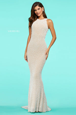 Sherri Hill 53490 prom dress images.  Sherri Hill 53490 is available in these colors: Nude Ivory, Lilac Nude.
