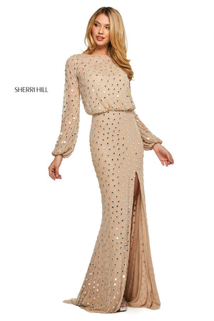 Sherri Hill 53491 prom dress images.  Sherri Hill 53491 is available in these colors: Nude Silver.