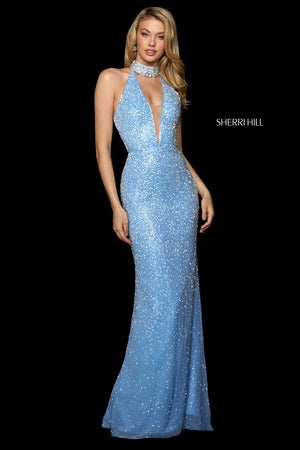 Sherri Hill 53495 prom dress images.  Sherri Hill 53495 is available in these colors: Light Blue Silver, Yellow Silver, Black, Ivory Silver, Nude Silver.