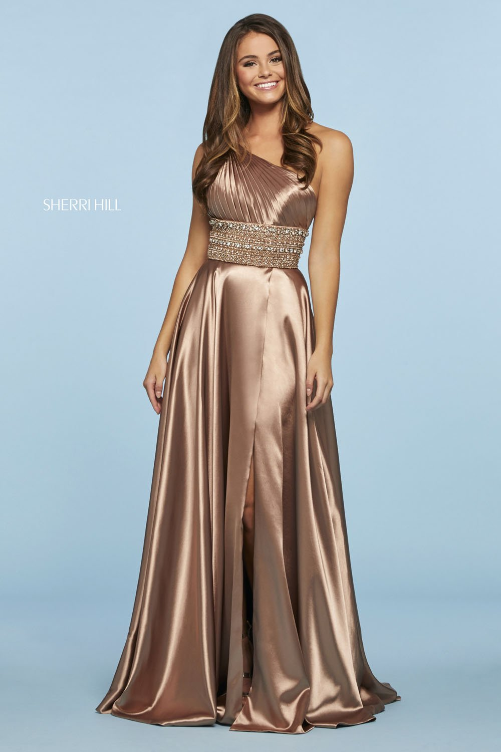 Sherri Hill 53497 prom dress images.  Sherri Hill 53497 is available in these colors: Teal, Red, Emerald, Royal, Mocha, Lilac, Orange, Black.