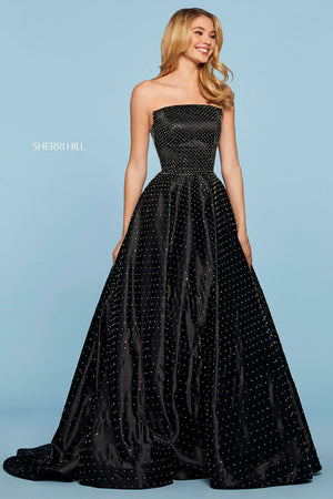 Sherri Hill 53502 prom dress images.  Sherri Hill 53502 is available in these colors: Black.