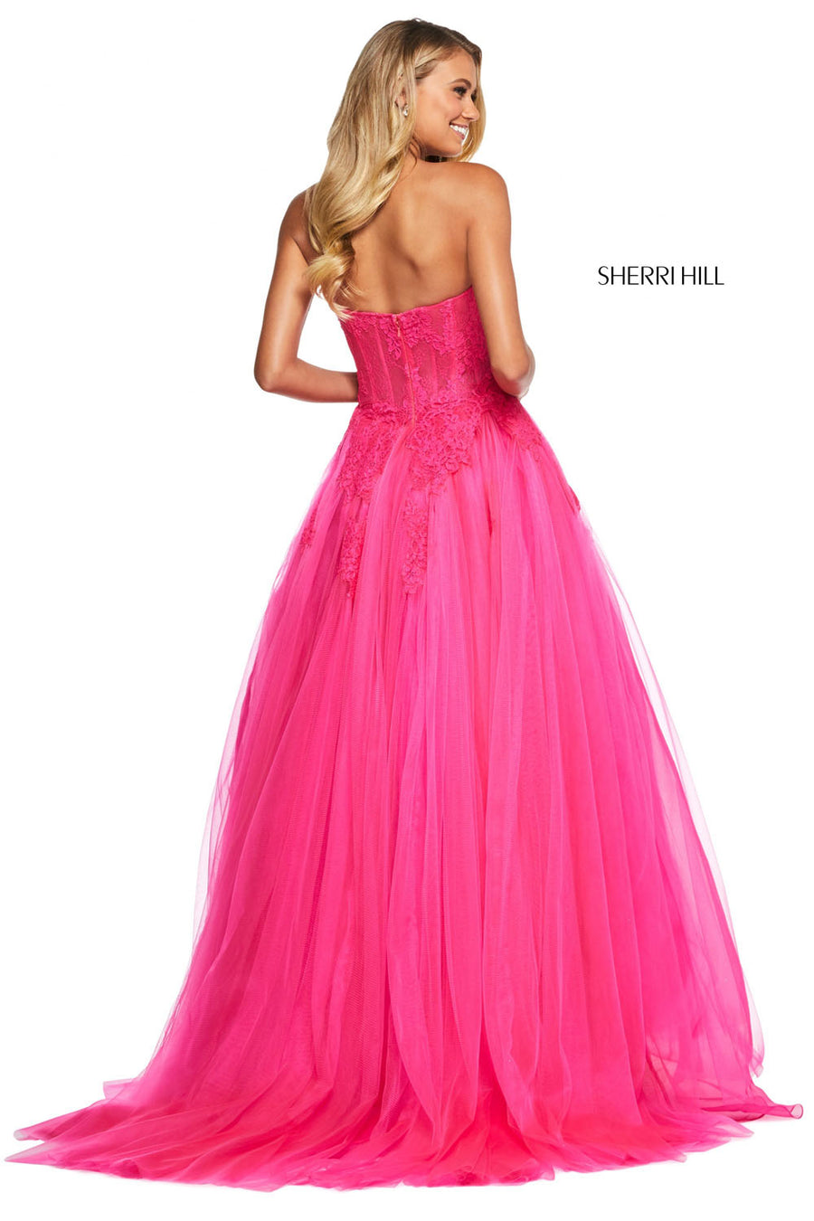 Sherri Hill 53503 prom dress images.  Sherri Hill 53503 is available in these colors: Black, Navy, Fuchsia, Red, Black Ivory, Blush.