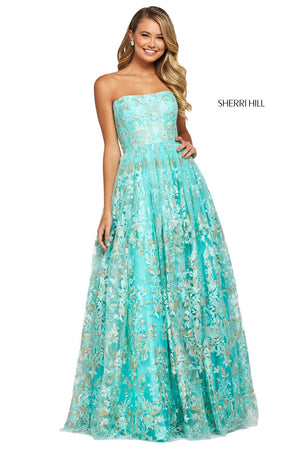 Sherri Hill 53513 prom dress images.  Sherri Hill 53513 is available in these colors: Aqua.