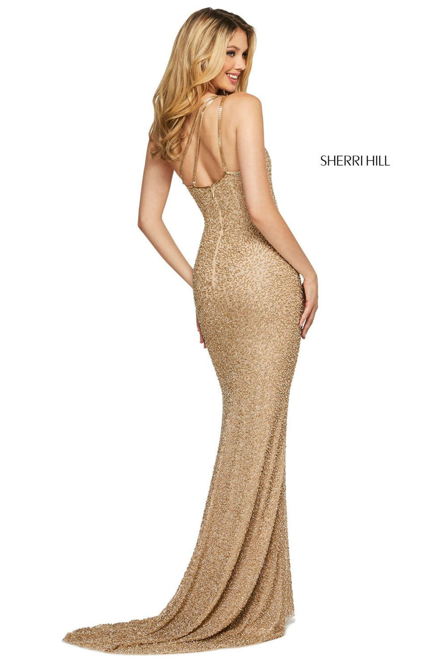 Sherri Hill 53514 prom dress images.  Sherri Hill 53514 is available in these colors: Royal, Red, Teal, Gold, Black, Burgundy, Navy.