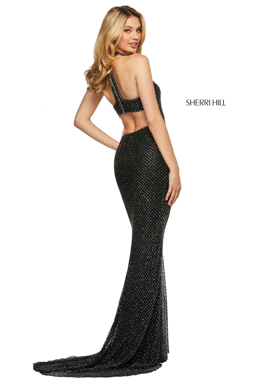 Sherri Hill 53516 prom dress images.  Sherri Hill 53516 is available in these colors: Ivory, Yellow, Black, Navy, Lilac, Red.