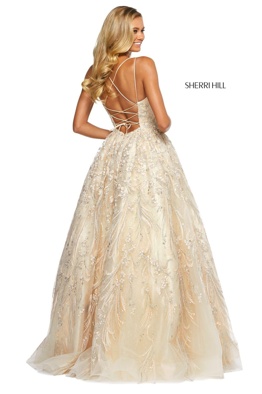 Sherri Hill 53519 prom dress images.  Sherri Hill 53519 is available in these colors: Champagne, Periwinkle, Light Blue, Blush.