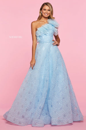 Sherri Hill 53522 prom dress images.  Sherri Hill 53522 is available in these colors: Light Blue, Black.
