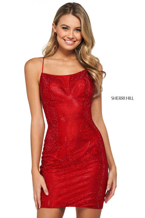 Sherri Hill 53536 prom dress images.  Sherri Hill 53536 is available in these colors: Nude Multi, Royal, Red, Teal, Black, Emerald.
