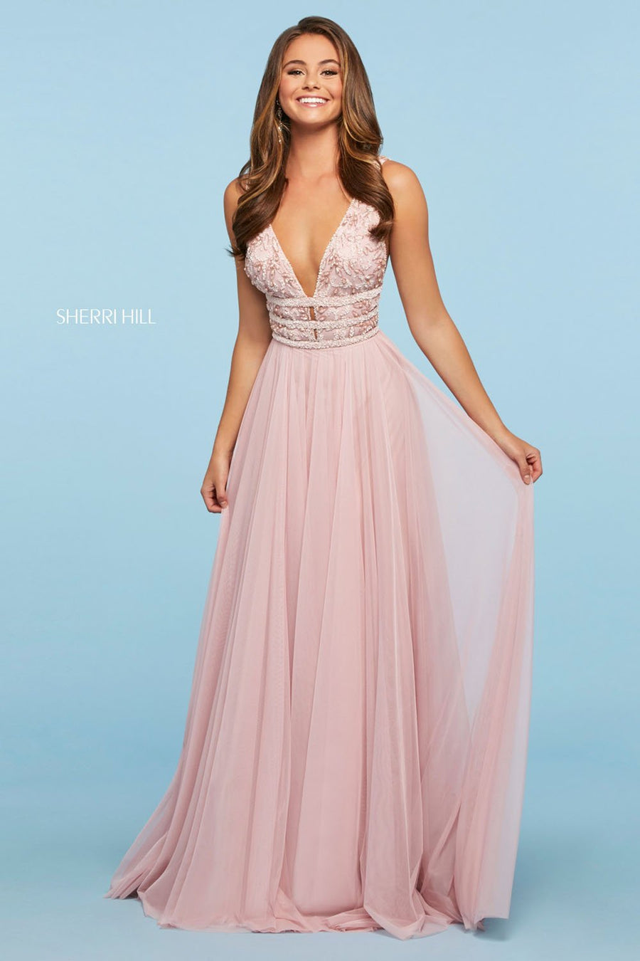 Sherri Hill 53551 prom dress images.  Sherri Hill 53551 is available in these colors: Light Pink, Light Blue, Yellow, Nude Ivory.