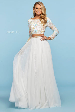 Sherri Hill 53553 prom dress images.  Sherri Hill 53553 is available in these colors: Nude Multi, Light Blue Multi, Light Yellow Multi, Lilac Multi, Ivory Multi.