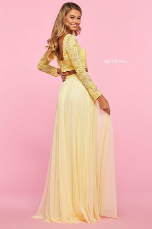 Sherri Hill 53559 prom dress images.  Sherri Hill 53559 is available in these colors: Nude Ivory, Light Blue, Yellow, Blush.