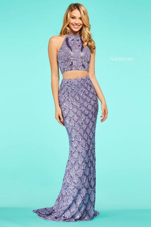 Sherri Hill 53562 prom dress images.  Sherri Hill 53562 is available in these colors: Light Blue, Rose Gold, Silver, Gold, Burgundy, Lilac, Black.