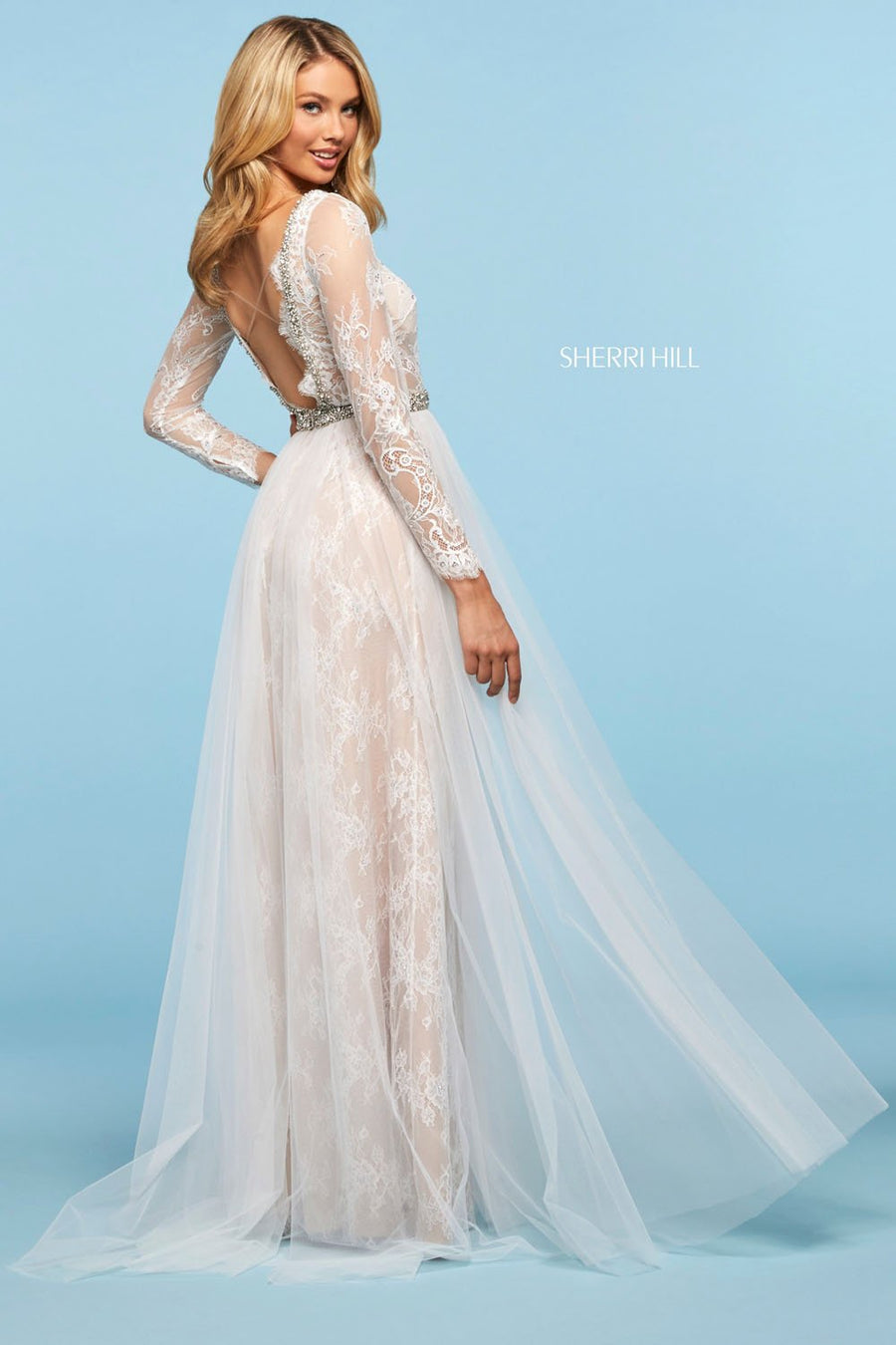 Sherri Hill 53565 prom dress images.  Sherri Hill 53565 is available in these colors: Ivory, Black, Blush.
