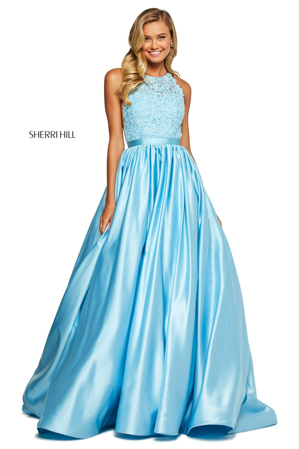 Sherri Hill 53573 prom dress images.  Sherri Hill 53573 is available in these colors: Ivory, Black, Navy, Light Blue, Fuchsia, Red, Yellow, Aqua, Blush.