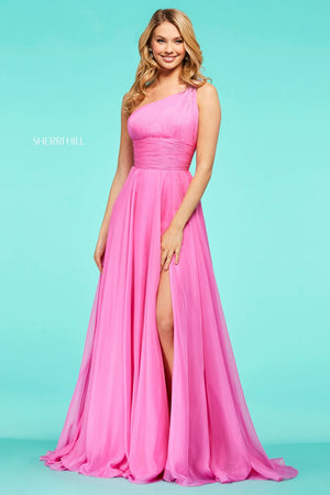 Sherri Hill 53575 prom dress images.  Sherri Hill 53575 is available in these colors: Light Blue, Ivory, Blush, Light Yellow, Candy Pink, Red, Emerald, Aqua, Bright Pink.