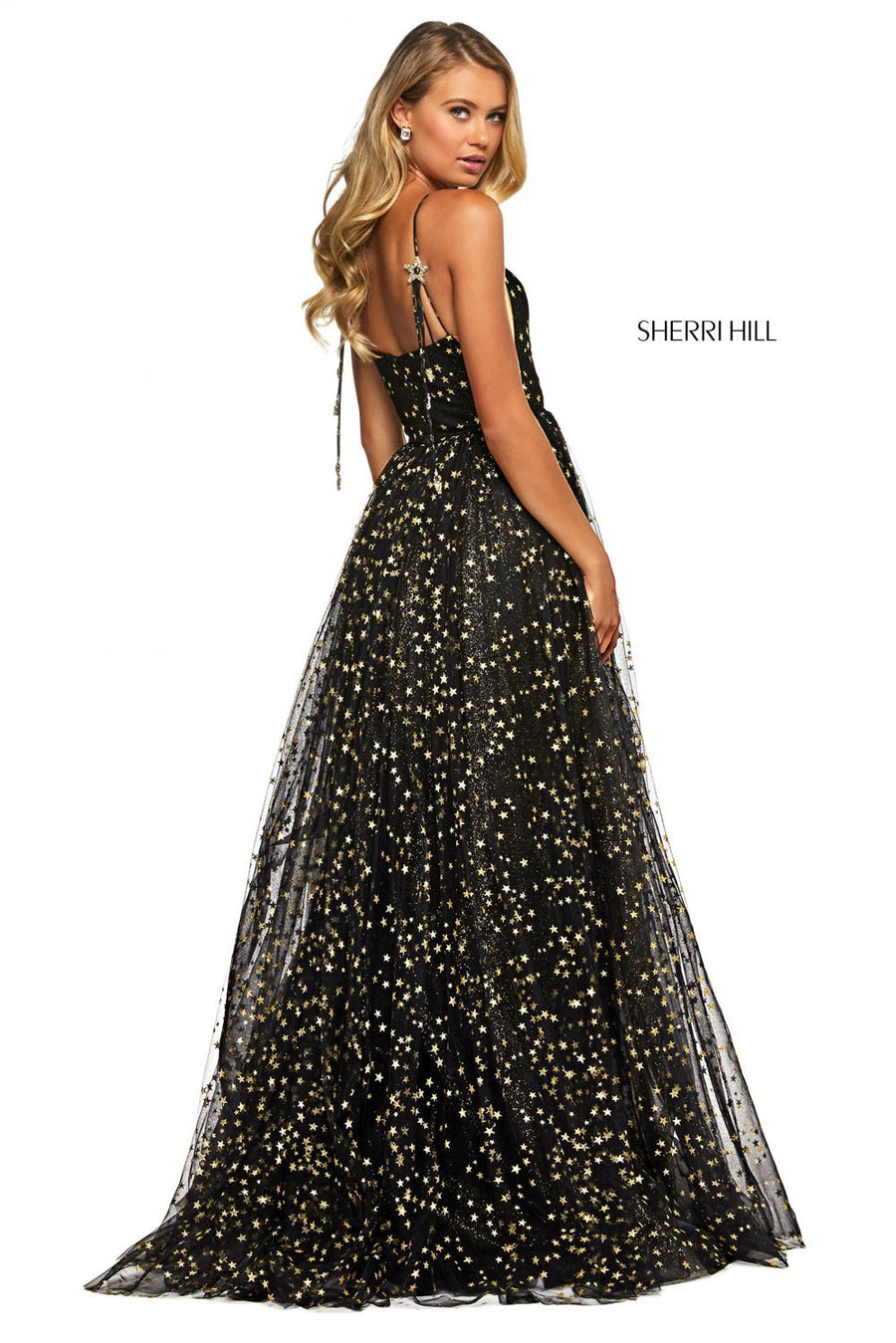 Sherri Hill 53583 prom dress images.  Sherri Hill 53583 is available in these colors: Blush Gold, Light Blue Silver, Black Gold, Ivory Gold, White Silver, Pink Silver, Aqua Silver.