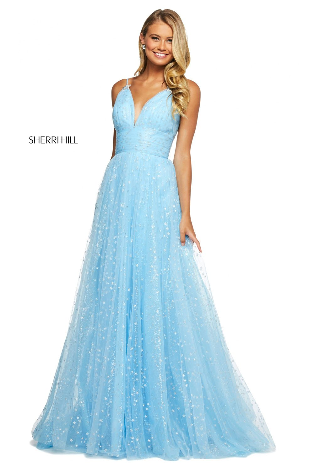 Sherri Hill 53584 prom dress images.  Sherri Hill 53584 is available in these colors: Light Blue Silver, Blush Gold, Ivory Gold, Black Gold, White Silver, Coral Gold.