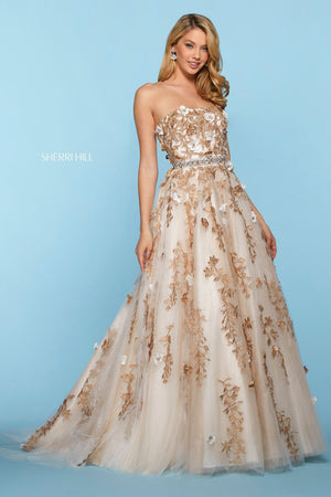 Sherri Hill 53589 prom dress images.  Sherri Hill 53589 is available in these colors: Light Blue Gold, Ivory Gold, Blush Gold.