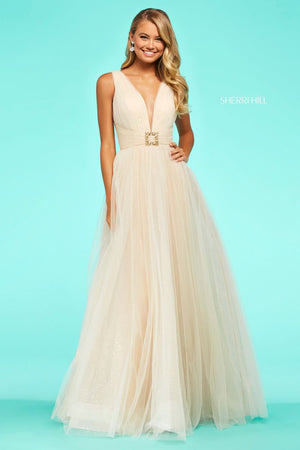 Sherri Hill 53590 prom dress images.  Sherri Hill 53590 is available in these colors: Champagne.