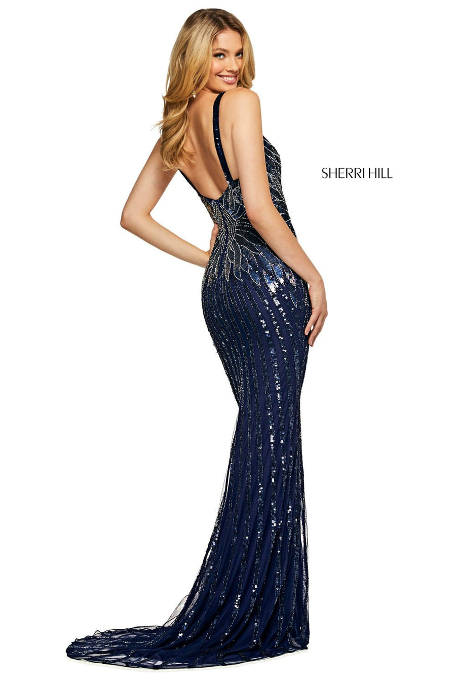 Sherri Hill 53593 prom dress images.  Sherri Hill 53593 is available in these colors: Navy Silver.