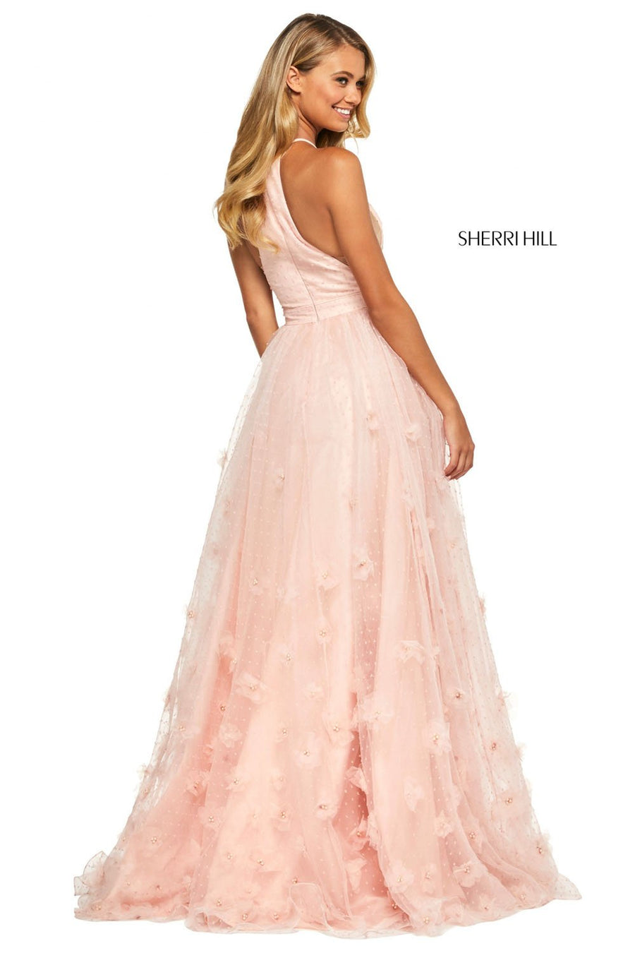 Sherri Hill 53595 prom dress images.  Sherri Hill 53595 is available in these colors: Blush, Ivory, Lilac, Navy, Yellow, Aqua, Coral, Candy Pink.