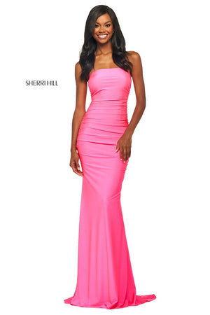 Sherri Hill 53596 prom dress images.  Sherri Hill 53596 is available in these colors: Candy Pink, Royal, Light Blue, Blush, Black, Peacock, Navy, Ruby.