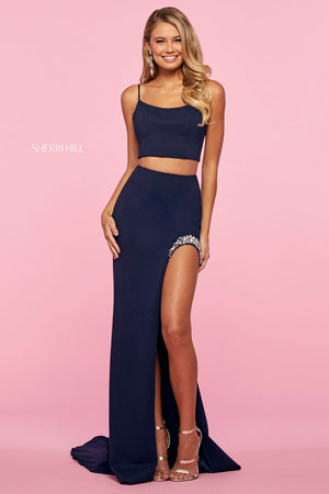 Sherri Hill 53602 prom dress images.  Sherri Hill 53602 is available in these colors: Orange, Ivory, Royal, Light Blue, Pink, Navy, Yellow, Red, Black.