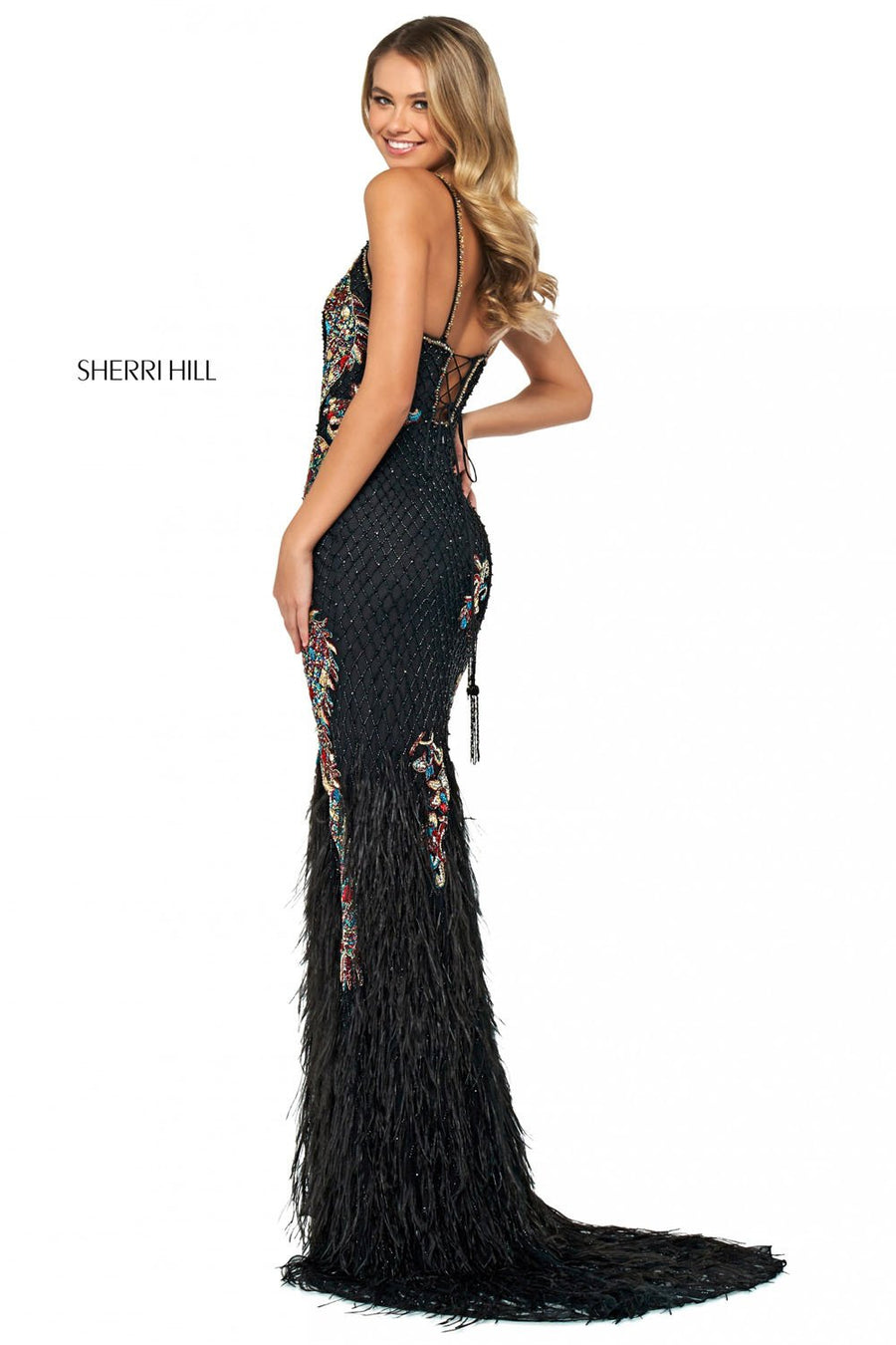 Sherri Hill 53608 prom dress images.  Sherri Hill 53608 is available in these colors: Nude Silver, Black Multi.