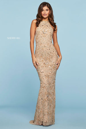 Sherri Hill 53609 prom dress images.  Sherri Hill 53609 is available in these colors: Nude Gold Silver.