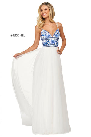 Sherri Hill 53632 prom dress images.  Sherri Hill 53632 is available in these colors: Coral, Ivory Yellow, Ivory Coral, Ivory Pink, Ivory Blue, Ivory Aqua.
