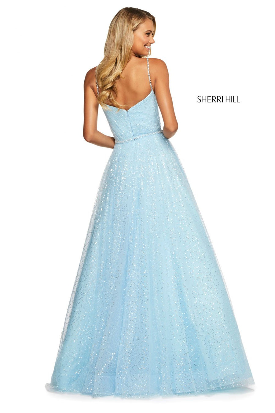Sherri Hill 53637 prom dress images.  Sherri Hill 53637 is available in these colors: Ivory, Blush, Yellow, Light Blue, Lilac.