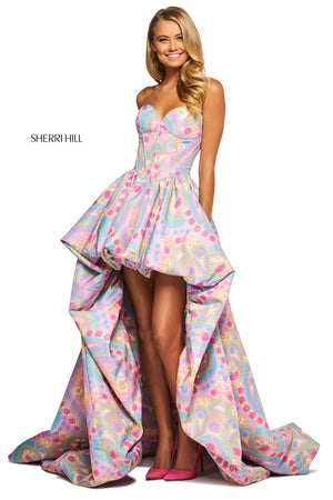 Sherri Hill 53643 prom dress images.  Sherri Hill 53643 is available in these colors: Lilac Print.