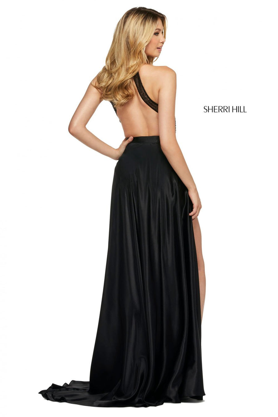 Sherri Hill 53649 prom dress images.  Sherri Hill 53649 is available in these colors: Red, Black, Blush, Emerald, Navy, Royal.