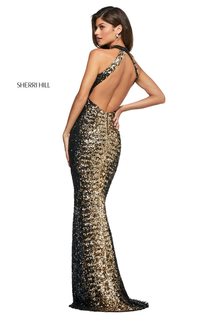 Sherri Hill 53667 prom dress images.  Sherri Hill 53667 is available in these colors: Black Copper Gold.